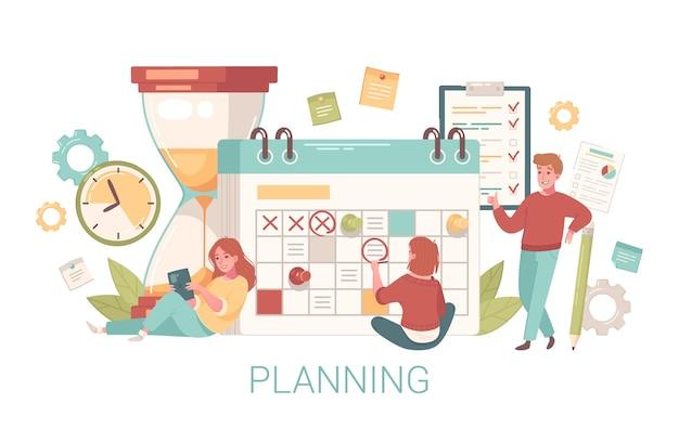 Composição de autodesenvolvimento de crescimento pessoal com pessoas desenhando marcas no calendário com ampulheta e texto