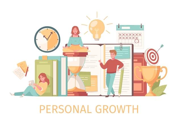Composição de autodesenvolvimento de crescimento pessoal com texto e caracteres humanos com ilustração de ícones de tempo e alvo de cadernos