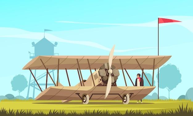 Composição de avião de transporte vintage com paisagem ao ar livre e vista de campo com aeronave turbo propulsionada clássica