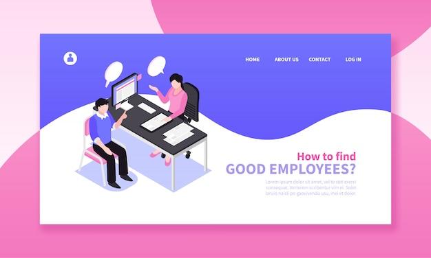 Composição de banner horizontal de recrutamento de busca de emprego isométrica com links clicáveis de design de página de site e personagens humanos