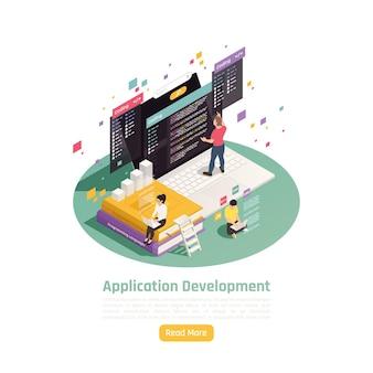 Composição de banner isométrico de desenvolvimento de aplicativo com texto editável leia mais botão e imagens de ilustração de pessoas que trabalham,