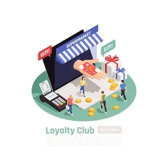 Composição de banner isométrico de retenção de fidelidade do cliente com imagens conceituais de laptops de métodos de pagamento de pessoas e ilustração de texto,