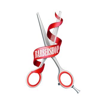 Composição de barbearia isolada
