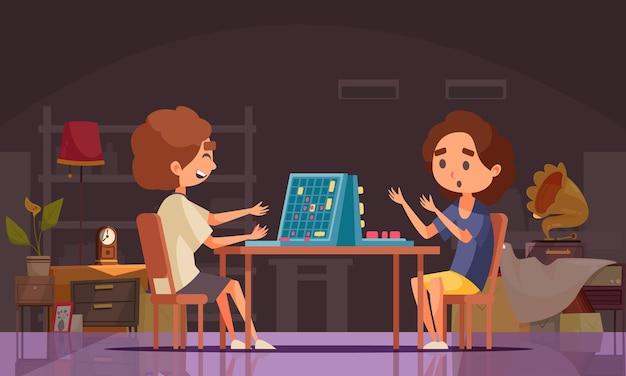 Composição de batalha naval de jogos de tabuleiro com dois jovens jogando um jogo de tabuleiro em casa
