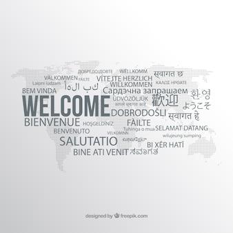 Composição de boas-vindas em diferentes idiomas
