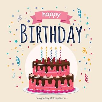 Composição de bolo de aniversário com design plano
