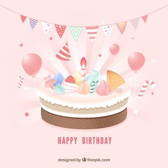 Composição de bolo de aniversário com estilo realista