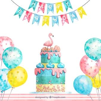 Composição de bolo de aniversário em aquarela
