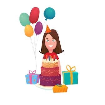 Composição de bolo de menina de aniversário
