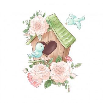 Composição de bonito dos desenhos animados de casa de passarinho e pássaros com rosas delicadas