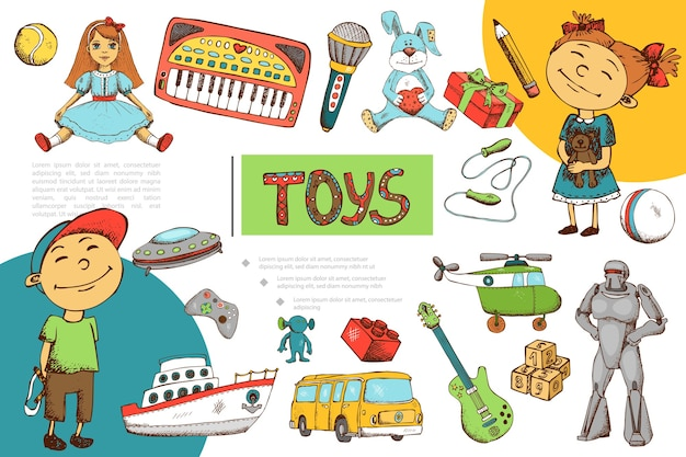 Composição de brinquedos infantis desenhados à mão