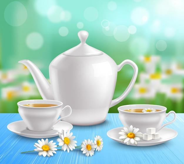 Composição de bule e xícaras