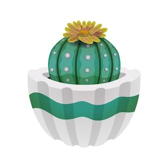 Composição de cacto com imagem isolada de cacto com flor em vaso branco