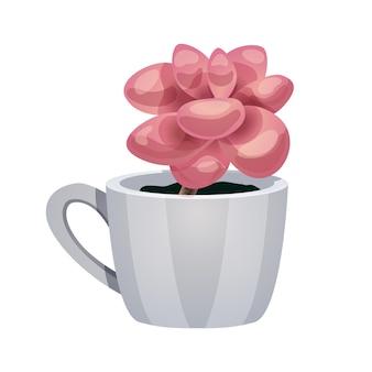 Composição de cacto com imagem isolada de flor de magnólia em copo branco
