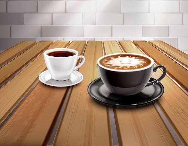 Composição de café expresso e cappuccino