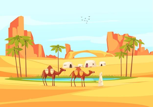 Composição de camelos de oásis no deserto
