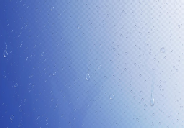 Composição de caminho de recorte de vidro embaçado com muitas pequenas gotas de água na ilustração de superfície gradiente brilhante e úmida,