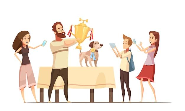 Composição de cão com mostrar a taça da vitória e ilustração em vetor família dos desenhos animados