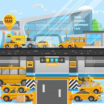 Composição de carros de táxi