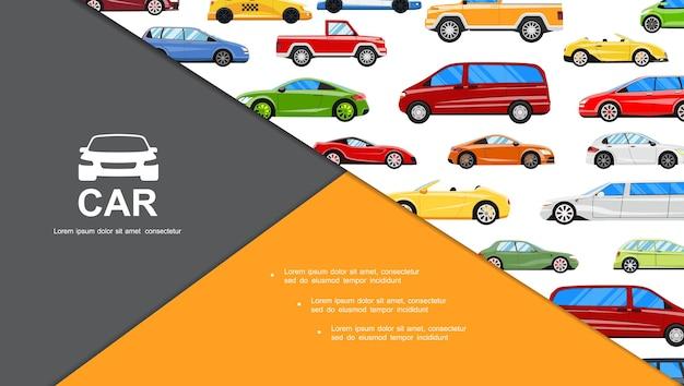 Composição de carros planos coloridos