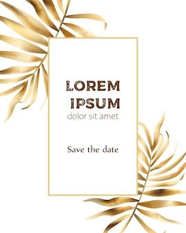 Composição de cartão de convite com folhas douradas