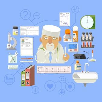 Composição de cartaz de conceito médico bandeira