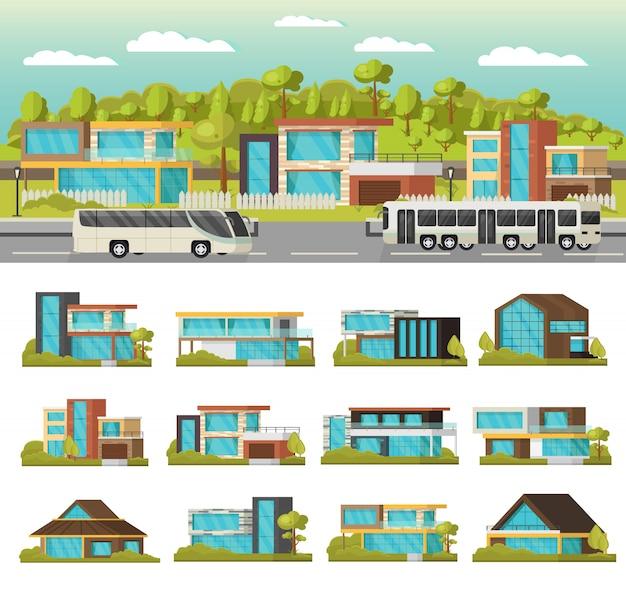 Composição de casas modernas