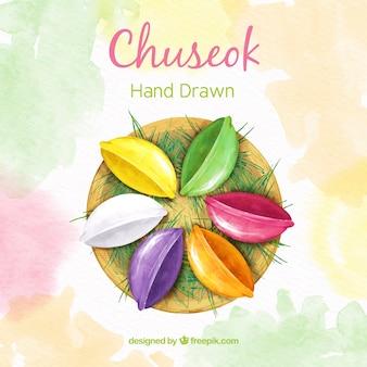 Composição de chuseok linda mão desenhada