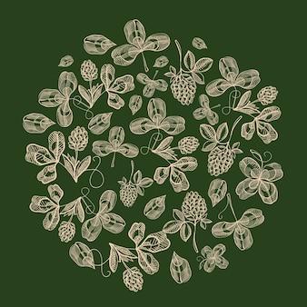 Composição de círculo natural do st. patricks day com folhas de trevo e ramos de lúpulo