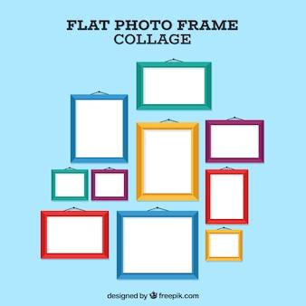 Composição de colagem de moldura de foto com design plano