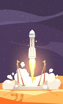 Composição de colonização de marte com lançamento de foguete, ilustração plana