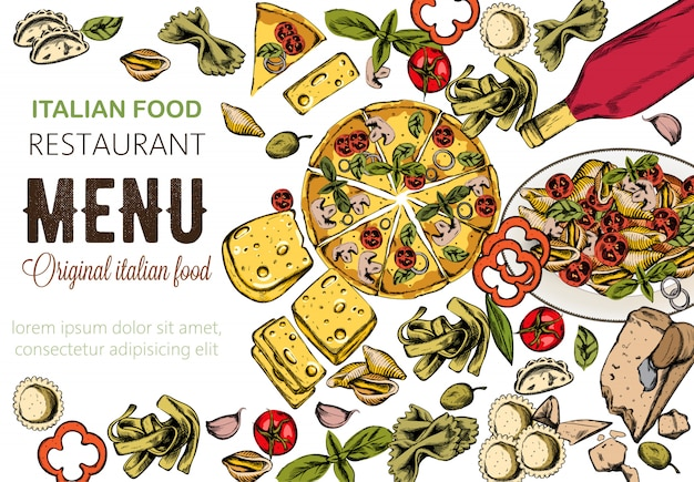 Composição de comida de arte linha com deliciosa pizza, macarrão com tomate, queijo e vinho tinto
