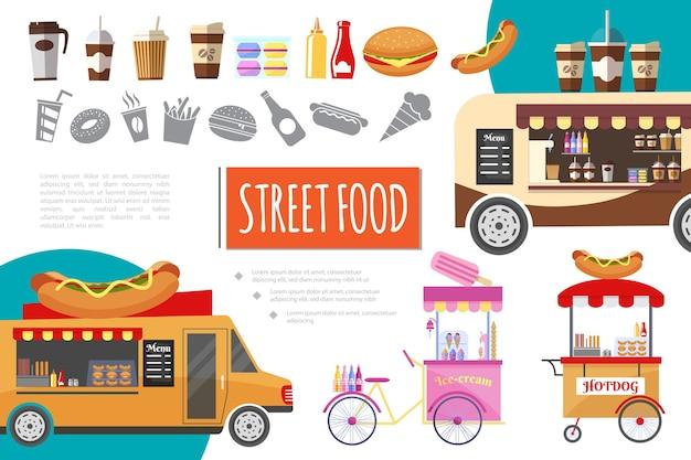 Composição de comida de rua plana