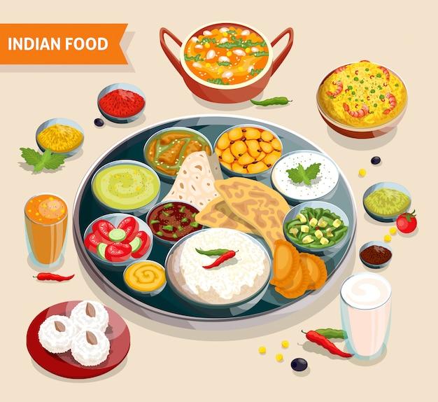 Composição de comida indiana