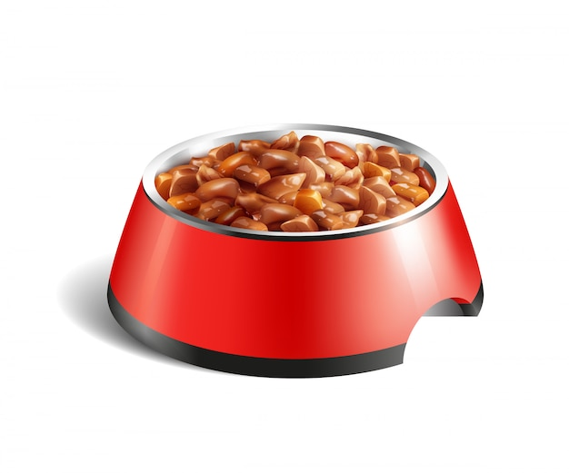 Composição de comida molhada de tigela de cachorro