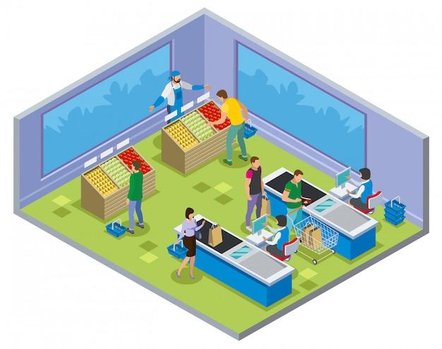 Composição de compras com pessoas durante a compra de legumes e pagamento na mesa de dinheiro