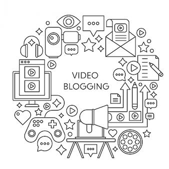 Composição de conceito de vetor de linha fina de blogs de vídeo