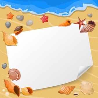 Composição de conchas e estrelas do mar, uma folha de papel na praia com conchas do mar