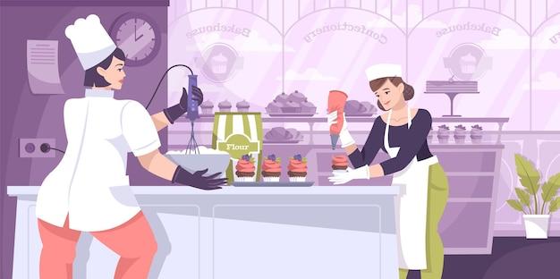 Composição de confeitaria com cenário de cozinha de restaurante de padeiros e personagens planos de padeiros fazendo ilustração de bolos doces