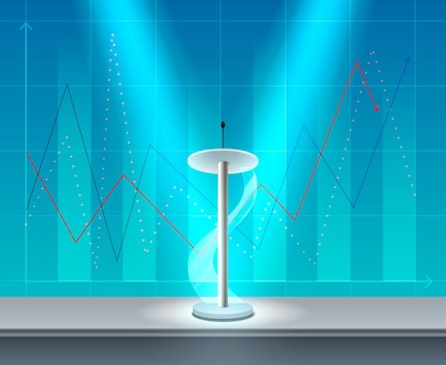 Composição de conferência de negócios realista tribune