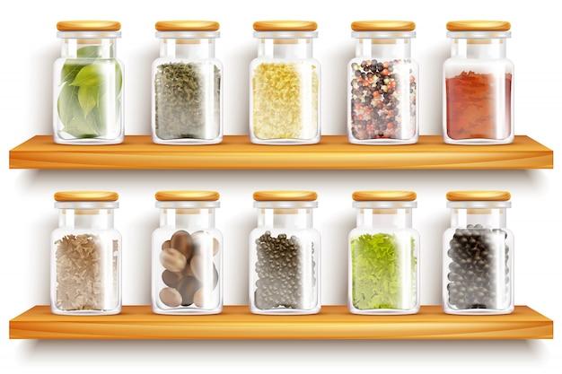 Composição de conjunto de especiarias de ervas