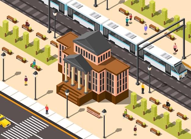 Composição de construção de estação ferroviária