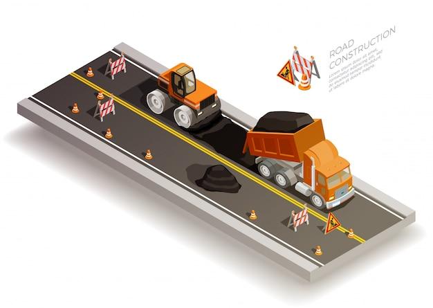 Composição de construção de obras rodoviárias