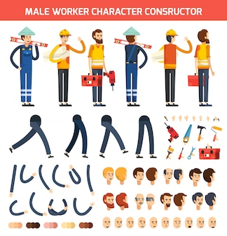 Composição de construtor de personagem de trabalhador masculino