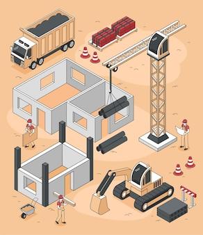Composição de construtores isométricos de canteiro de obras de casa com caminhões de esteira e guindaste de pilar com ilustração de personagens humanos