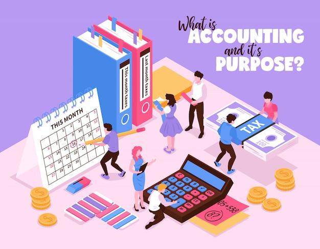 Composição de contabilidade isométrica com pequenos caracteres humanos e elementos organizadores da calculadora de calendário do espaço de trabalho e ilustração vetorial de livros