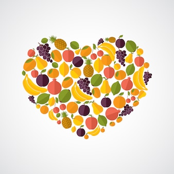 Composição de coração de comida saudável