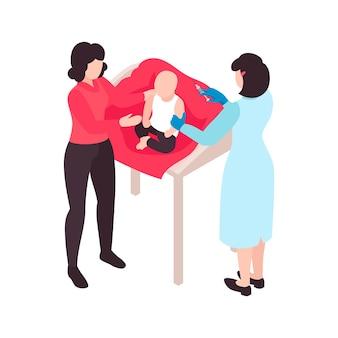 Composição de cores de vacinação isométrica com caracteres de médico vacinando bebê com mãe