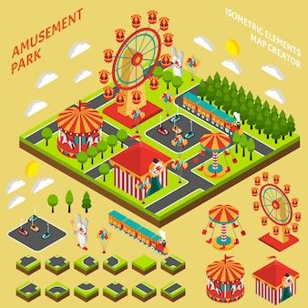 Composição de criador de mapa isométrica de parque de diversões