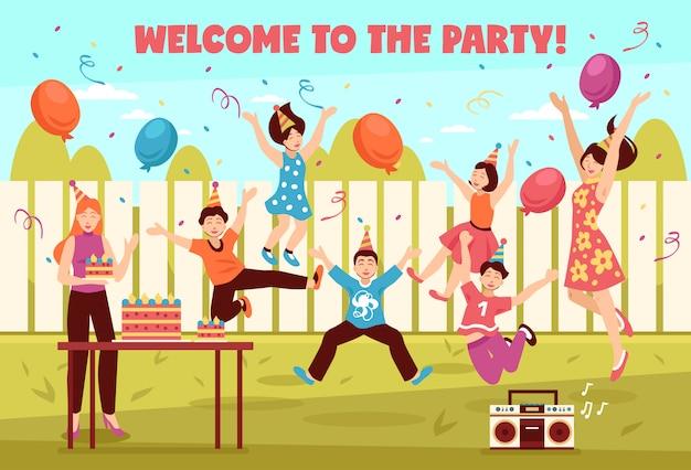 Composição de crianças de festa de dia b